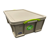 Really Useful Earth Box Heavy duty Grey 64L Plastic Stackable Storage box