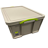 Really Useful Earth Box Heavy duty Grey 84L Plastic Stackable Storage box