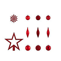 Red Glitter effect Assorted Decoration, Pack of 50
