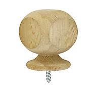 Richard Burbidge Redwood Ball top Post cap, (H)76mm (W)76mm