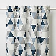 Rima Blue & grey Triangle Unlined Eyelet Curtain (W)140cm (L)260cm, Single