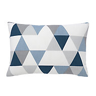Rima Triangle Blue, grey & white Cushion