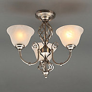 Rolli Brushed Nickel effect 3 Lamp Ceiling light