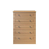Romany Matt oak effect 5 Drawer Chest of drawers (H)1145mm (W)830mm (D)448mm