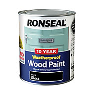 Ronseal Black Gloss Wood paint, 0.75