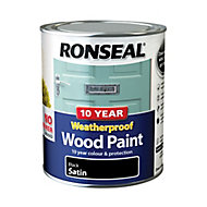 Ronseal Black Satin Wood paint, 750ml