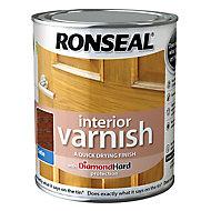 Ronseal Diamond hard Dark oak Satin Wood varnish, 0.25L