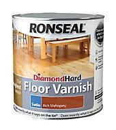 Ronseal Diamond hard Rich mahogany Satin Floor Wood varnish, 2.5L