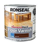 Ronseal Diamond hard Walnut Satin Floor Wood varnish, 2.5L