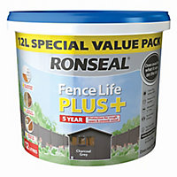 Ronseal Fence life plus Charcoal grey Matt Fence & shed Treatment 12L