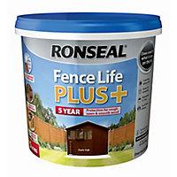 Ronseal Fence life plus Dark oak Matt Fence & shed Treatment 5L