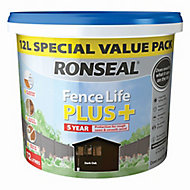 Ronseal Fence life plus Dark oak Matt Wood paint, 12L