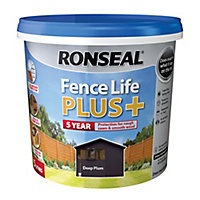 Ronseal Fence life plus Deep plum Matt Fence & shed Treatment 5L