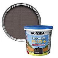 Ronseal Fence life plus Deep plum Matt Fence & shed Wood treatment, 5L