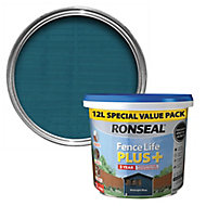 Ronseal Fence life plus Midnight blue Matt Fence & shed Treatment 12L