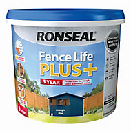 Ronseal Fence life plus Midnight blue Matt Fence & shed Wood treatment, 9L
