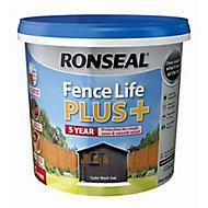 Ronseal Fence life plus Tudor black oak Matt Fence & shed Wood treatment, 5L