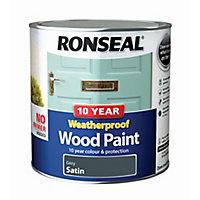 Ronseal Grey Satin Wood paint, 2.5L