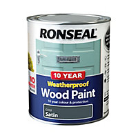 Ronseal Grey Satin Wood paint, 750ml