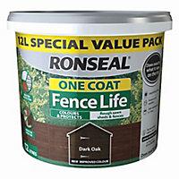 Ronseal One coat fence life Dark oak Matt Fence & shed Treatment 12L