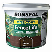 Ronseal One coat fence life Dark oak Matt Fence & shed Wood treatment 9L