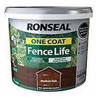 Ronseal One coat fence life Medium oak Matt Fence & shed Wood treatment 9L