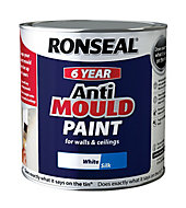 Ronseal Problem wall White Silk Anti-mould paint, 2.5L