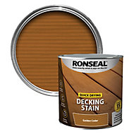 Ronseal Quick-drying Golden cedar Matt Decking Wood stain, 2.5L