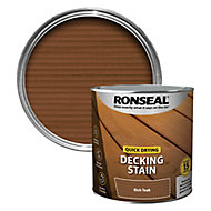 Ronseal Quick-drying Rich teak Matt Decking Wood stain, 2.5L