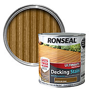 Ronseal Ultimate Medium oak Matt Decking Wood stain, 2.5L