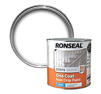 Ronseal White Satin One coat non drip paint 2.5L