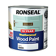 Ronseal White Satin Wood paint, 2.5L