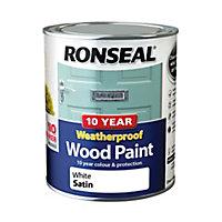 Ronseal White Satin Wood paint, 750ml