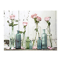 Roses in vase Pastel shades Canvas art (H)600mm (W)800mm