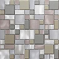 Rovigo Grey Aluminium & glass Mosaic tile, (L)304mm (W)292mm