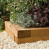 Rowlinson Rough-sawn edge Timber Railway sleeper (W)200mm (L)1.8m