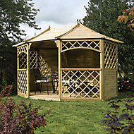 Rowlinson Sandringham Natural Octagonal Gazebo, (W)3.94m (D)3m - Assembly service included