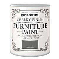 Rust-Oleum Anthracite Chalky effect Matt Furniture paint, 750ml