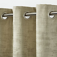 Ruvor Beige Abstract Blackout Eyelet Curtain (W)140cm (L)260cm, Single