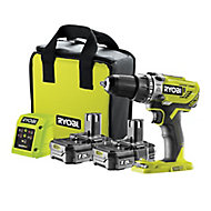 Ryobi ONE+ 18V 1.5Ah Li-ion Cordless Brushed Combi drill R18PD3-215SK - 2 batteries included