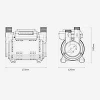 Salamander Pumps CTFORCE 30PT Twin 3 bar Shower pump (H)160mm (W)120mm (L)210mm