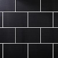 Salerna Black Gloss Flat Ceramic Wall Tile, Pack of 10, (L)402.4mm (W)251.6mm