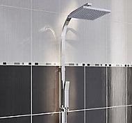 Salerna Black Listel Ceramic Border tile, (L)400mm (W)20mm
