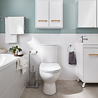 Salerna White Gloss Linear Ceramic Wall tile, Pack of 17, (L)250mm (W)400mm