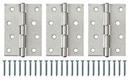 Satin Nickel-plated Metal Butt Door hinge (L)100mm, Pack of 3