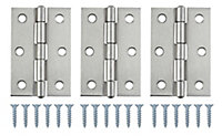 Satin Nickel-plated Metal Butt Door hinge (L)75mm, Pack of 3
