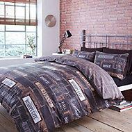 Saville Row Road signs & brickwork Black Double Bedding set