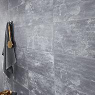 Shaded slate Anthracite Matt 3D decor Stone effect Porcelain Wall Tile, Pack of 6, (L)600mm (W)300mm