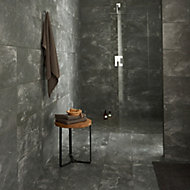Shaded Slate Anthracite Matt Stone effect Porcelain Floor tile, Pack of 6, (L)600mm (W)300mm
