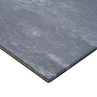 Shaded slate Anthracite Matt Stone effect Porcelain Wall & floor Tile, Pack of 6, (L)600mm (W)300mm